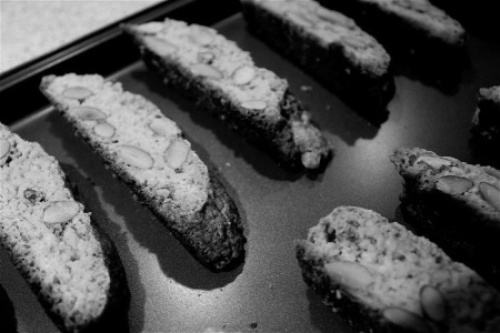 Almond biscotti about to be put in the oven for second baking.